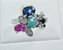 30.19 Crt Natural Ruby Emerald & Sapphire 925 Silver Ring