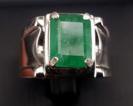6.95 carat Natural Emerald men Ring.