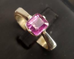 Natural Pink Tourmaline Ring.