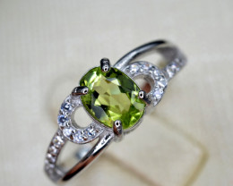 Natural Green Peridot 12.87 Cts CZ and  Silver Ring