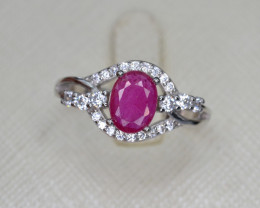 Beautiful Glass Filled Ruby Ring with CZ.