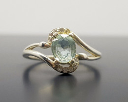 Natural Blue Aquamarine 11 CTS 925 Silver Ring N