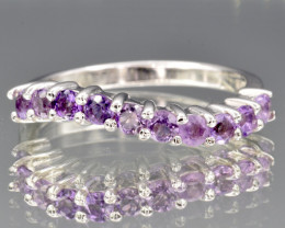 Natural Amethyst and 925 Silver Ring
