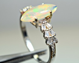 Natural Multi Flashy Fire Opal top Cabochon ,CZ 925 Silver Ring