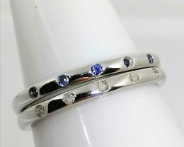 Diamond and Sapphire Stacker Ring Set 0.15 TCW