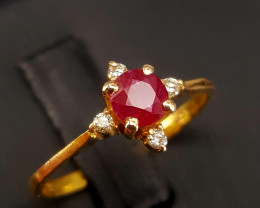 18k Gold Natural Piegon blood Color Ruby and Diamond Ring.