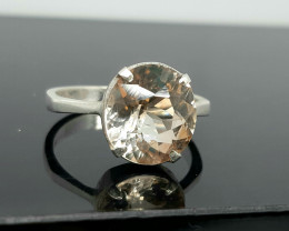 Natural 15.00 Carats champagne topaz hand made 925 Silver Ring, 12x11x5mm.