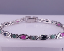 Natural Sapphire Emerald and Ruby Bracelet.