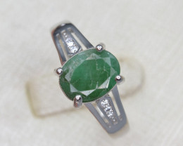 Natural Emerald 15.99 Cts CZ and Silver Ring