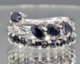 Natural Dark Sapphire and 925 Silver Ring