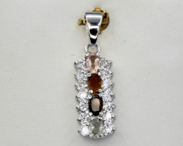 Natural Tourmaline, CZ and 925 Silver Pendant, Sparkling Design