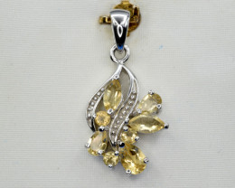 Natural Citrine, CZ and 925 Silver Pendant, Elegant Design