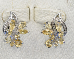 Natural Citrine, CZ and 925 Silver Earring, Elegant Design