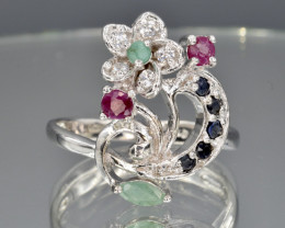 Natural  Sapphire, Emerald, Ruby and CZ and 925 Silver Ring