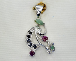Natural Sapphire, Emerald, Ruby , CZ and 925 Silver Pendant, Elegant Design