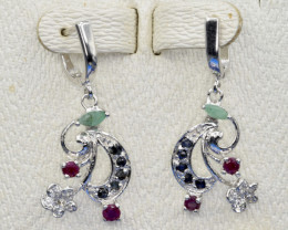 Natural Sapphire, Emerald, Ruby, CZ and 925 Silver Earring, Elegant Design