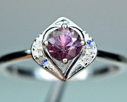 Natural top Burmese Spinel ,CZ 925 Silver Ring