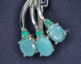 14.53 Crt Natural Emerald 925 Sterling Silver Pendant
