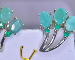 36.01 Crt Natural Emerald 925 Sterling Silver Earrings