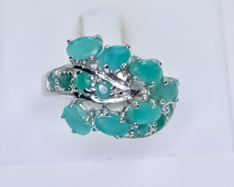 31.99 Crt Natural Emerald 925 Sterling Silver Ring