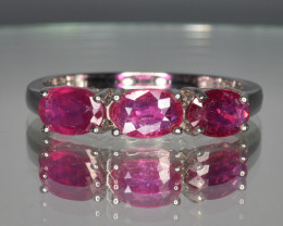 Natural RubyZ with 925 Silver Ring