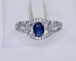 10.44 Crt Natural Sapphire 925 Sterling Silver Ring