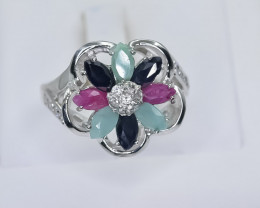 33.70 Crt Natural Ruby Sapphire And Emerald 925 Sterling Silver Ring