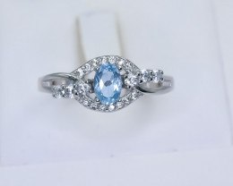 15.45 Crt Natural Topaz 925 Sterling Silver Ring