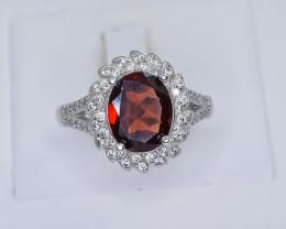 27.14 Crt Natural Garnet 925 Sterling Silver Ring