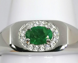 Gents Emerald and Zircon Ring 0.85 TCW
