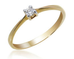 Stunning 14 k Solid Yellow Gold Genuine White Diamond Solitaire Ring