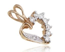 Stunning 14 k Solid Yellow Gold Genuine Diamond Pendant