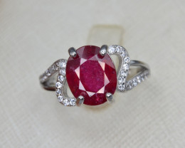 Beautiful Glass Filled 19.65 Cts Ruby Ring with CZ.