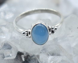 CHALCEDONY RING 925 STERLING SILVER NATURAL GEMSTONE JR907