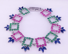 Precious Natural Emerald Ruby and Sapphire Bracelet.