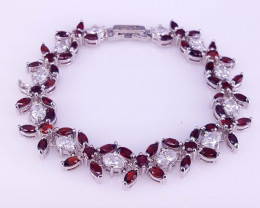Natural Garnet with CZ Bracelet.