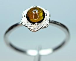 Natural transparent nice color Tourmaline ,CZ 925 Silver Ring