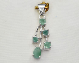 Natural Emerald and 925 Silver Pendant, Elegant Design