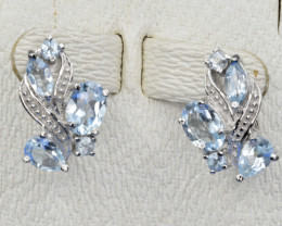 Natural Topaz and 925 Silver Earring, Elegant Design