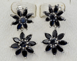 Heated Natural Dark Sapphire and 925 Silver Earring, Elegant Design