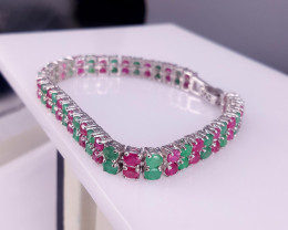 Natural emerald and Ruby Bracelet.