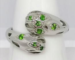 Chrome Diopside Bypass Ring 0.11 TCW