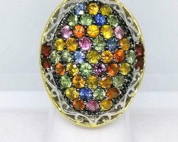 Rainbow Sapphire Ring 6.10 TCW