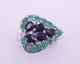 Natural Emerald And Sapphire Ring