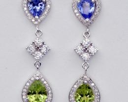 Natural Tanzanite , Peridot , CZ and 925 Silver Earrings