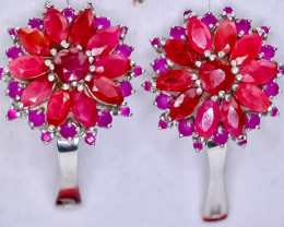 63.02 Crt Natural Ruby 925 Silver Earrings