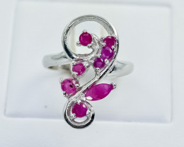 30.03 Crt Natural Ruby 925 Silver Ring