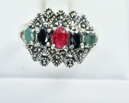 29.77 Crt Natural Ruby and Emerald & Sapphire 925 Silver Ring