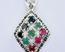 21.98 Crt Natural Ruby and Emerald & Sapphire 925 Silver Pendant
