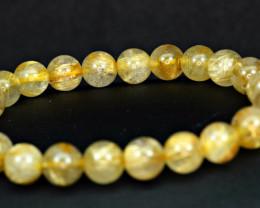 Natural 8mm Golden Rutilated Quartz Golden Rutile 22Pis beads Bracelet